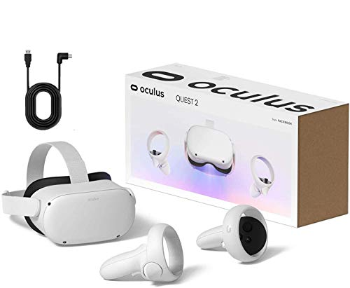 Oculus Quest 2 - Auriculares para juegos de realidad virtual todo en uno avanzados - Blanco - Vídeo de 256 GB - Paquete de vacaciones familiares - BROAGE Cable de enlace USB tipo C de 12 pies