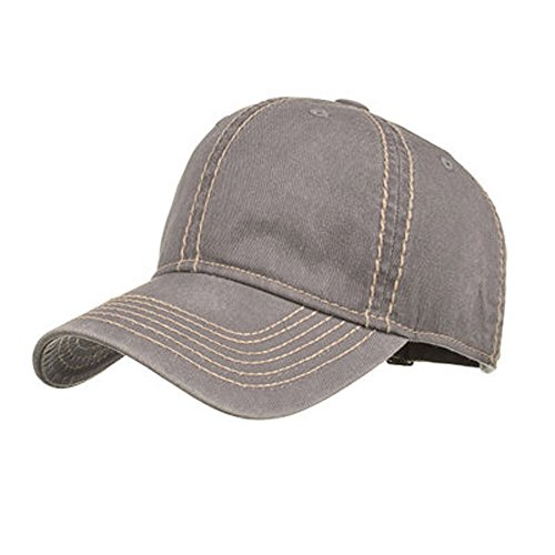 - XILALU Casual Fashion Women Men Adjustable Washed Vintage Hat Solid Color Baseball Ponytail Golf Cap Shade (Grey)