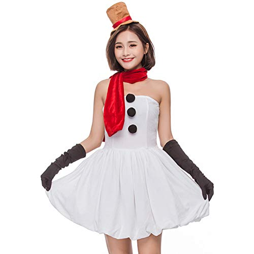 (BADI NA Adult Women Girl Miss Snowman Costume Holiday Christmas Costume Party Fancy Dress)