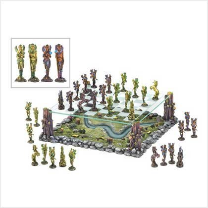 Faerie World Mythical Fairy Battle Chess Board Game Set by Furniture Creations