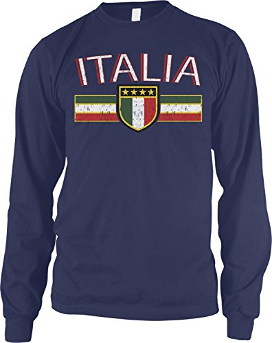 Amdesco Men's Italia Flag and Shield, Italy Italian Pride Long Sleeve Shirt, Navy Blue 2XL