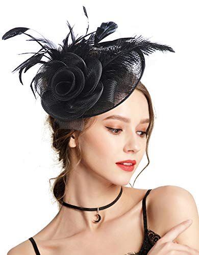 Z&X Sinamay Fascinator Headband Mesh Feather Flower Cocktail Pillbox Hat Black