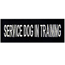 Service Dog In Training Vests/ Harnesses Emblem Embroidered Fastener Hook & Loop Patch, 4 X 1.5 Inch