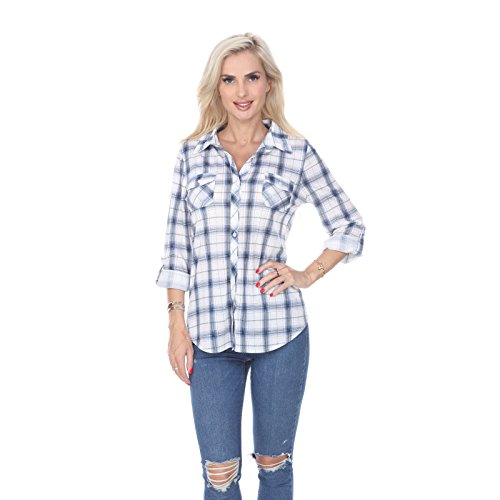 White Mark Women's Roll Up Long Sleeve Plaid Button Down Casual Shirt in Blue & White - Medium from White Mark