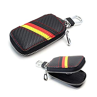 iJDMTOY (1 Germany Flag Stripe Carbon Fiber Pattern Leather Key Holder Cover Wallet Compatible with Audi BMW Mercedes Porsche Volkswagen, etc: Automotive