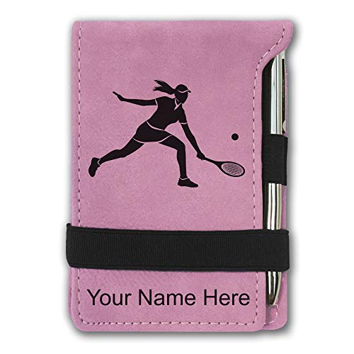 Mini Notepad, Tennis Player Woman, Personalized Engraving Included (Pink)
