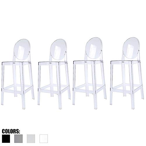"2xhome - Set of Four (4) - Clear - 30"" Seat Height Barstool Modern Ghost Side Bar Stool Counter Stool - Accent Stool - Lounge No Arms Armless Arm Less Chairs Seats Mid Century Design"