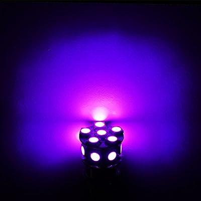 PA 2pcs 13SMD LED 3157 3457A 3156 Auto Stop Light/Back Light/Side Marker Light/Tail Light/Turn Signal Light Bulbs Purple-12V: Automotive