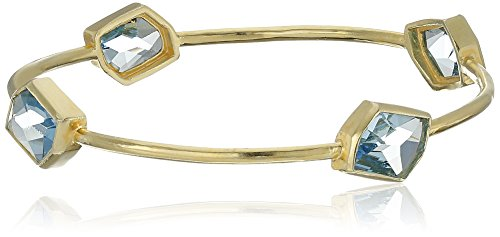 Sterling Silver with Yellow Gold Plating Aquamarine Color Crystal Bangle Bracelet