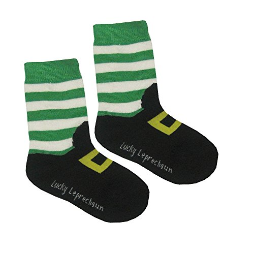 Kid's Socks With Leprechaun Foot Print, Black With Green And White Stripes ()