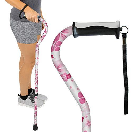 Vive Walking Cane - for Men & Women - Portable, Adjustable Offset Balance Stick - Lightweight & Sturdy Mobility Walker Aid for Arthritis, Elderly, Seniors & Handicap (White Floral) (Cane Floral)