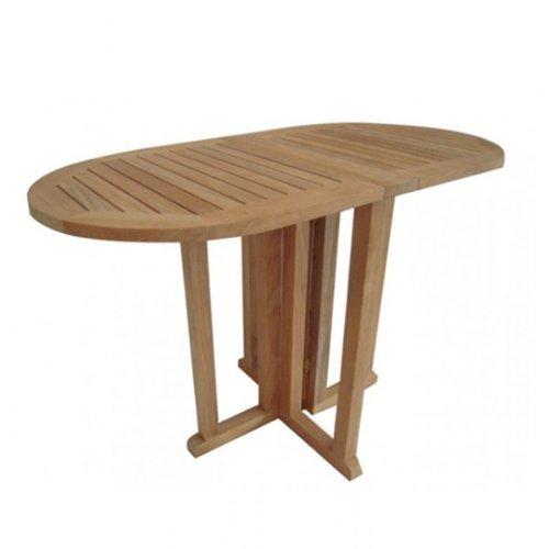 Gartentisch Teak Tisch klappbar Teaktisch oval Balkontisch 120x60cm Gartenmöbel Holz