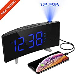 PICTEK Projection Alarm Clock, 5'' LED Curved Screen Digital Projection Clock with Dimmer, FM Radio Alarm Clock, Dual Alarms for Kids Bedrooms, 12/24 Hour, Snooze Function, Sleep Timer, USB Charging