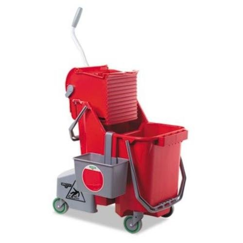 Unger COMBR Side-Press Restroom Mop Dual Bucket Combo, 8gal, Plastic, Red
