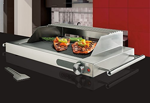 Maverick  Electric Char-B-Que, High-Efficiency INFRARED Ribbed Glass Electric Grill with Stainless Steel Windscreen, Splatter Shield and Warmer Rack by Maverick