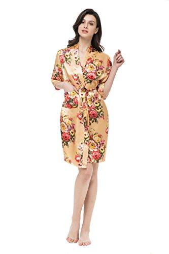 gusuqing Women's Printing Floral Kimono Robe Short Bridesmaid Robe with Pockets Gold L