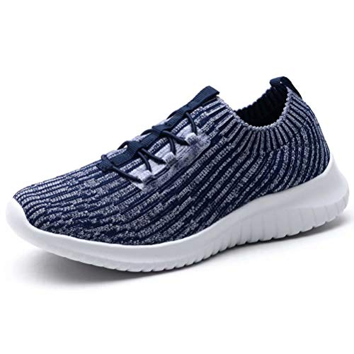 LANCROP Women's Athletic Walking Shoes - Casual Mesh Lightweight Running Slip On Sneakers 6.5 M US Navy