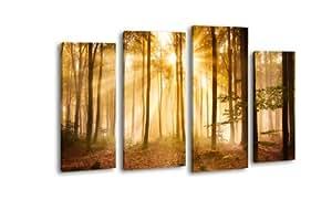 Lienzo de bosque en la mañana lw320pared Imagen, imagen sobre lienzo, 4piezas, 180x 100cm, de impresión Canvas, XXL imágenes, Bastidor imagen, madera contrachapada, imagen, marco de madera, campanas, Estado de Ánimo, algodón,