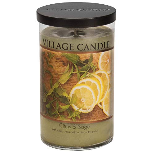 Village Candle Citrus & Sage 24 oz Glass Tumbler Scented Candle, - Citrus Sage