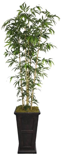 Tree Tabletop Bamboo Silk - Laura Ashley 91 Inch Tall Natural Bamboo Tree in 16 Inch Fiberstone Planter