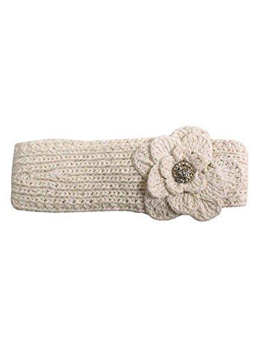 White Crochet Headband With Rhinestone Flower