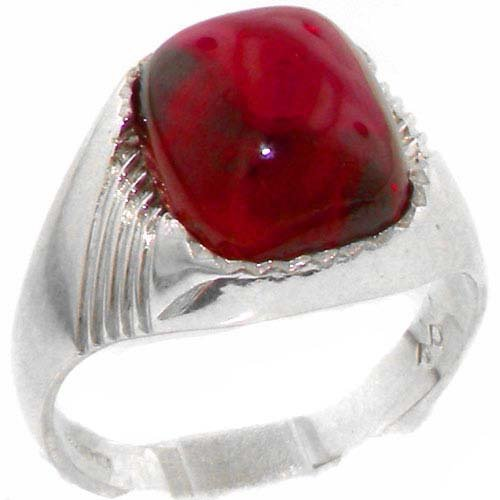 Solid 925 Sterling Silver Cabochon Created Ruby Mens Mans Signet Ring - Sizes 6 to 13 - Cabochon Ruby