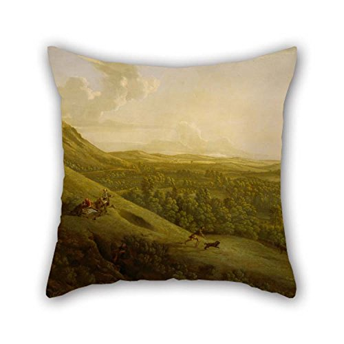 Oil Painting George Lambert - Box Hill, Surrey, With Dorking In The Distance Pillow Covers 16 X 16 Inches / 40 By 40 Cm Best Choice For Lounge Bench Family Divan Christmas Teens Boys With Double S