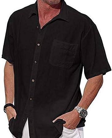 GFRBJK Camisa Negra Blanca para Hombre Camisa de Manga Corta Floja Ocasional de los Hombres Camisas del Color sólido del Verano Tops , Negro ,: Amazon.es: Deportes y aire libre