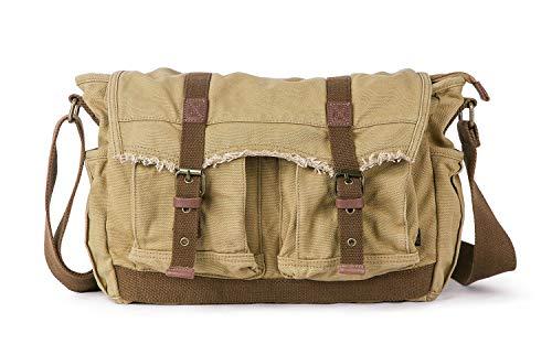 Gootium Canvas Messenger Bag – Vintage Shoulder Bag Frayed Style Satchel, Khaki
