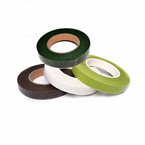 Astra shop Pack of 4 Assorted Color Floral Tape, Self-Sealing, 1/2 Inch by 30 Yard Each Pack(White/Army Green/Forest Green/Brown)