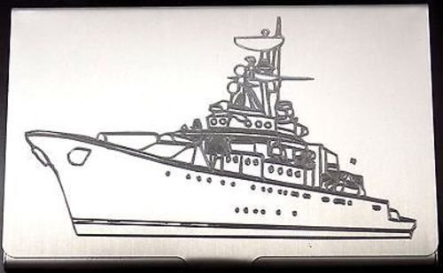NAVY WARSHIP Destroyer Ship Engraved Business ID Card Case Patch Holder BUS-0122