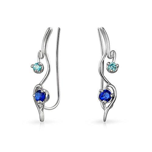 Swirl Wire Ear Pin Climbers Aqua Blue Cubic Zirconia Earrings For Women Simulated Sapphire CZ Crawlers Sterling Silver