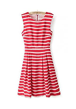 32768c34f841 Red and White Striped Skater Dress  Amazon.co.uk  Clothing