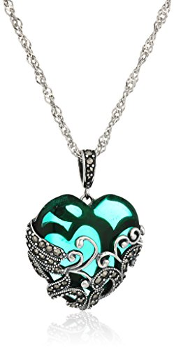 Sterling Silver Oxidized Genuine Marcasite and Emerald Colored Glass Filigree Heart Pendant Necklace, 18