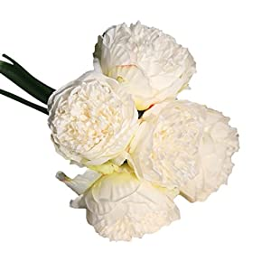 ChainSee 5 Head Artificial Silk Peony Flowers Bridal Bouquet Home Wedding Decor (A) 5