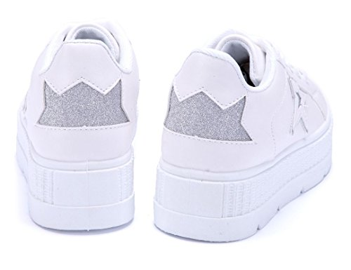 Schuhtempel24 Damen Schuhe Low Sneaker Flach Glitzer Silber