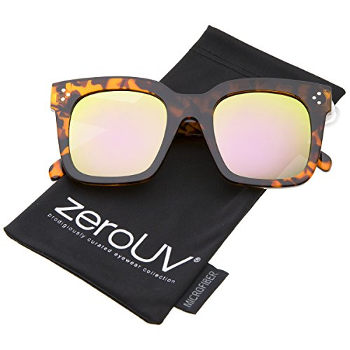 Sunglasses Replica Brown (zeroUV - Retro Oversized Square Sunglasses for Women with Flat Lens 50mm (Tortoise/Pink Yellow Mirror))