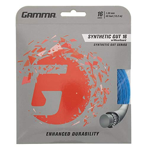 Gamma Sports 16g Synthetic Gut with Wearguard Tennis String Set, 40', ()