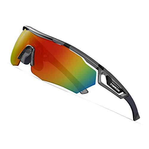 (TOREGE Polarized Sports Sunglasses with 3 Interchangeable Lenes for Men Women Cycling Running Driving Fishing Golf Baseball Glasses TR05 (Transparent Gray&Black&Red Lens))