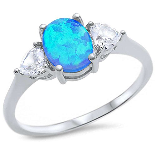 Sterling Silver Oval Lab Created Blue Opal & Heart Cubic Zirconia Ring Sizes 10