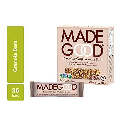 MadeGood Chocolate Chip Granola Bars (0.85 oz, 6 ct); Made from Gluten-Free Oats and Delicious Chocolate Chips; Contain Nutrients of One Serving of Vegetables; Allergy-Friendly, Full of Chewy Goodness