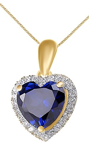Heart Blue Sapphire & White Topaz Pendant Necklace 14k Yellow Gold Over Sterling Silver