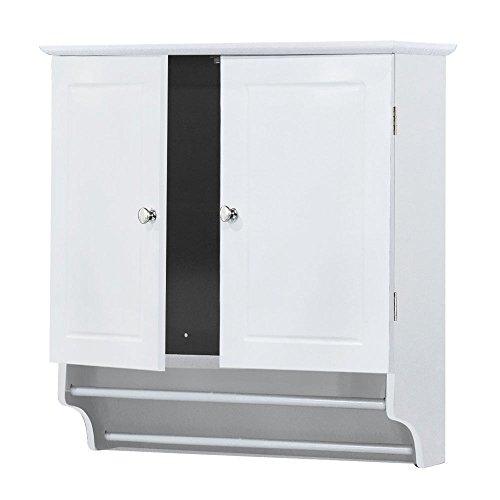 2 Door Storage Wall Mounted Curio Cabinet Bathroom Kitchen Organizer Shelf Kitchen Bathroom Shutter Storage Shelf | White by Eosphorus