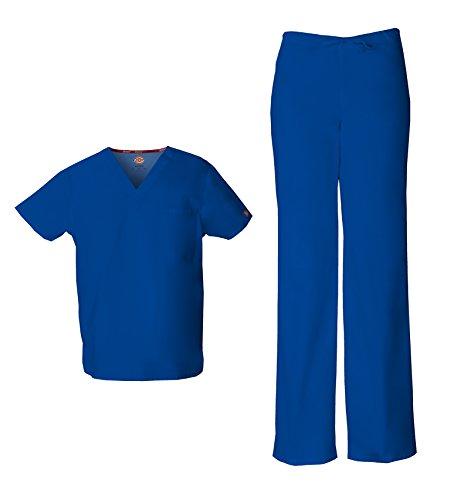 Dickies EDS Signature Unisex Scrubs Set (Top & Pant) (Small, Galaxy Blue)