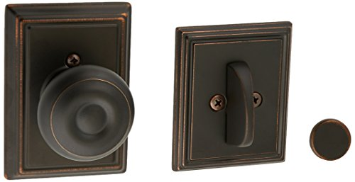 Schlage Lock Company F94GEO716ADD Aged Bronze Georgian Knob Dummy Interior Pack with Deadbolt Cover Plate and Decorative Addison Rose