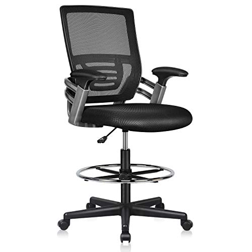Mesh Drafting Chair Tall Desk Office Chair Swivel Rolling Executive Chair for Adjustable Standing Desks with Lumbar Support, Adjustable Armrest & Footring (Dark Black)