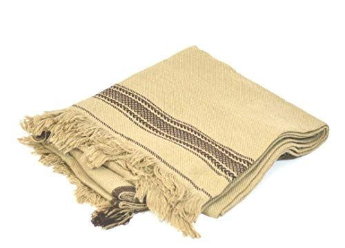 (Desert Dress Traditional Hand Made Afghan Mens Large Blanket Wool (Cream))