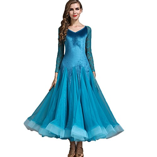Cha Gonna Blue Velluto Valzer Wqwlf Abito Moderna Da Di Danza Prestazione Ballo Nazionale Donna Cha Xl xxl Per Standard BT6fA