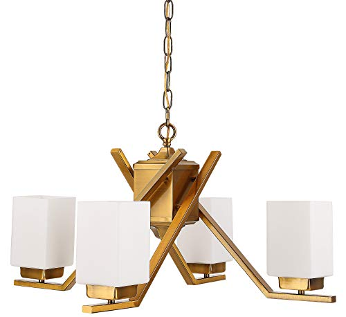 (Cerdeco 58543BK 4 Lights Pendant Light Modern Chandelier Brass Plated with Glass Shades [UL Listed])