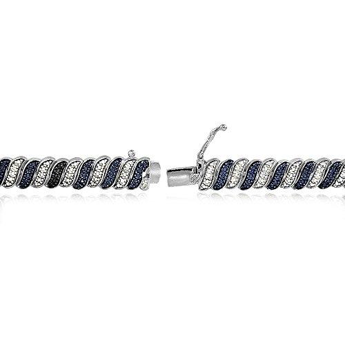 Trilogie & tonnes de diamant Bleu Blanc-Wave-Link Bracelet de Tennis